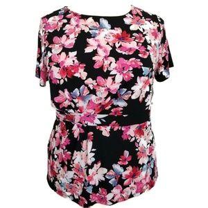 Liz Claiborne 1XL 1 XL Shirt Floral Pink Black